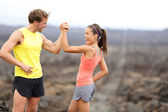 Fitness couple celebrating cheerful and happy — Stock Photo