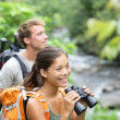 Hiking couple of hikers in outdoor activity — Stock Photo