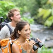 Hiking couple of hikers in outdoor activity — Stock Photo #27487405
