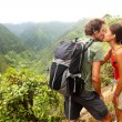 Couple in love kissing while hiking on Hawaii — Stock Photo