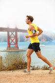 Man jogging - male running in San Francisco — Stock Photo