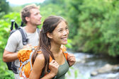 Hiking - happy hiker couple on Hawaii — Stock Photo