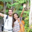 Happy hiking - hikers cheering joyful in forest — Stock Photo