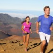 Running sport - trail runners in cross country run — Stock Photo
