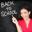 Back to school - woman teacher smiling blackboard — Stock Photo #28193847