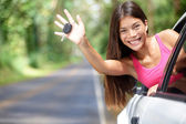 Car - woman showing new car keys happy — Stock Photo