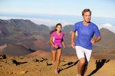 Running sport - trail runners in cross country run — Stock Photo