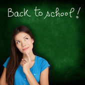 Back to school blackboard - woman student thinking — Stock Photo