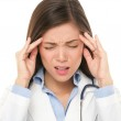 Doctor with headache stressed — Stock Photo