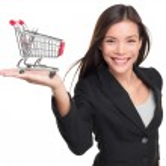 Shopping cart - business woman shopper — Stock Photo