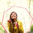 Asian Autumn woman happy after rain under umbrella — Stock Photo