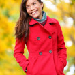 Autumn people - fall woman walking in forest — Stock Photo #28788589
