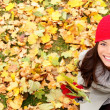 Autumn, fall banner background texture woman — Stock Photo