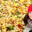 Stock Photo: Autumn, fall banner background texture woman