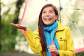 Autumn woman happy after rain walking umbrella — Stock Photo