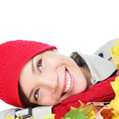 Autumn woman happy with colorful Fall leaves — Stock Photo