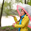 Stock Photo: Womwalking in rain in Autumn forest