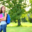 Back to school student girl looking to side — Stock Photo
