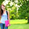 Student girl portrait holding books and backpack — Stock Photo #29024213