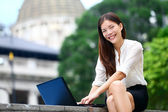 Business people - laptop woman in Hong Kong — Stock Photo