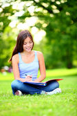 Student girl studying in park — Stock Photo