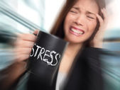 Stress - business person stressed at office — Stock Photo