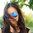 Sunglasses woman funky portrait outdoor — Stock Photo