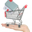 House and home for sale in shopping cart concept — Stock Photo