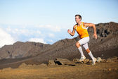 Running sport runner man sprinting in trail run — Stock Photo