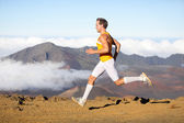 Runner man athlete running sprinting fast — Stock Photo