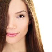 Hair care beauty woman with long hair - brunette — Stock Photo
