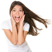 Surprised excited happy screaming woman isolated — Stock Photo