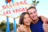 Las vegas couple happy at sign — Stock Photo