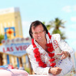 Elvis impersonator and Las Vegas sign — Foto de Stock