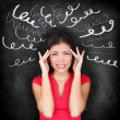 Stress - woman stressed with headache — Stockfoto