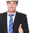 Engineer or architect in suit successful thumbs up — Stock Photo