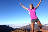 Success winner fitness runner woman jumping — Stock Photo