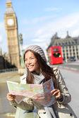 Londen toeristische vrouw bezienswaardigheden bedrijf kaart — Stockfoto