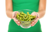 Soy beans - healthy food woman — Stock Photo