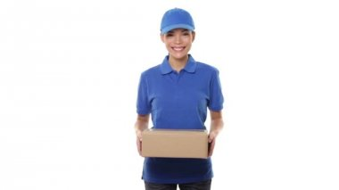 Woman package delivery courier person — Stock Video