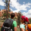 People hiking - couple hikers in Bryce Canyon — Stock Video #32067111