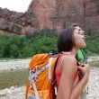 Hikers hiking enjoying view in Zion National park — Stock Video #32067329