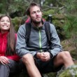 Young couple hiking — Stock Video