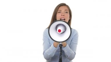 Business woman screaming angry in megaphone — Stock Video