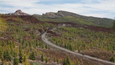Mountain road. Landscape on Tenerife Teide, Spain — Stock Video