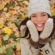 Fall woman excited and happy with autumn leaves — Stock Video