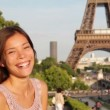 Travel Paris woman waving hello hand Eiffel Tower — Stock Video #32384953