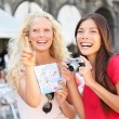 Tourist travel friends with camera and map, Venice — Stock Photo #32412607