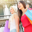 Shopping women happy holding shopping bags, Venice — Stock Photo