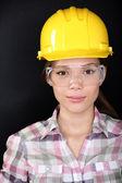 Bauarbeiter mit brille und bauarbeiterhelm — Stockfoto